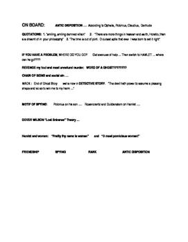 HAMLET: beginning Act 2: notes on blackboard/whiteboard...