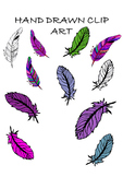 HAND DRAWN FEATHER clip art (commercial and personal use)