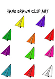 HAND DRAWN PAPER PLANE clip art (commercial and personal use)