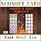 Colorful HANDS & FEET Sensory Path, Hopscotch for preschooler, Floor decals set