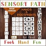 HANDS AND FOOTPRINTS Sensory Path for floor, Preschool Motor station, Hopscotch