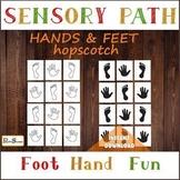 HANDS & FEET Sensory Path, Hopscotch for preschooler,  Floor decals set
