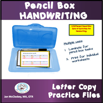 HANDWRITING COPY PRACTICE TASK CARDS FOR PENCIL BOX OR WORK BIN