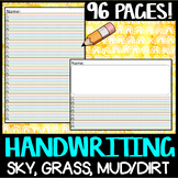 HANDWRITING: Colored/Coloured dotted thirds lined paper sky grass dirt mud