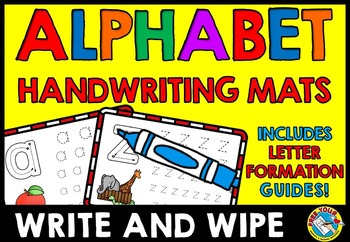 ALPHABET TRACING WORKSHEETS OR MATS (ALPHABET WRITE AND WIPE CARDS)