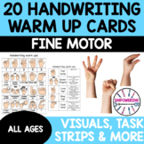 HANDWRITING WARM UP CARDS WITH VISUALS... 20 cards OT prek123