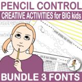 HANDWRITING Practice {older kids} (older students} 3 fonts BUNDLE