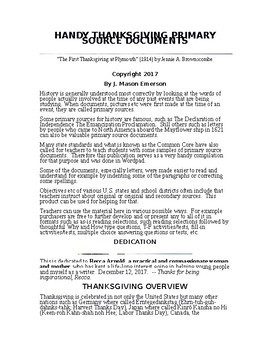 HANDY THANKSGIVING PRIMARY SOURCE DOCUMENTS