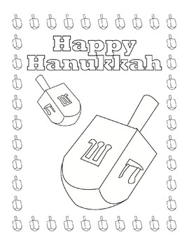 HANUKKAH COLORING, BUNDLE 8 PAGES, HANUKKAH ACTIVITIES, HANUKKAK HANDOUTS