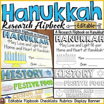 HANUKKAH EDITABLE FLIPBOOK: INFORMATIONAL REPORT WRITING RESEARCH TEMPLATES