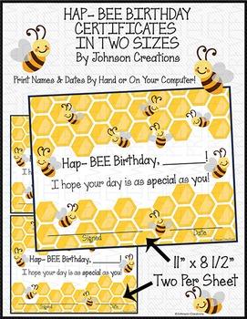 HAP- BEE BIRTHDAY CERTIFICATES