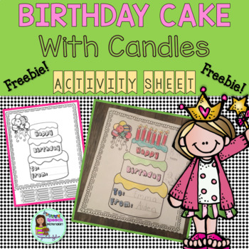 HAPPY BIRTHDAY CAKE with candles ACTIVITY COLORING SHEET {FREEBIE]