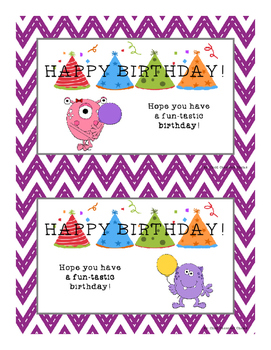 HAPPY BIRTHDAY CARDS WITH PURPLE CHEVRON BACKGROUND PAPER AND MONSTERS!
