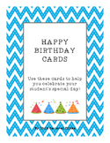 HAPPY BIRTHDAY CARDS WITH BLUE CHEVRON BACKGROUND PAPER AND PARTY HATS!