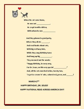 HAPPY BIRTHDAY, DR. SEUSS RHYMING ACTIVITY: MARCH 2ND