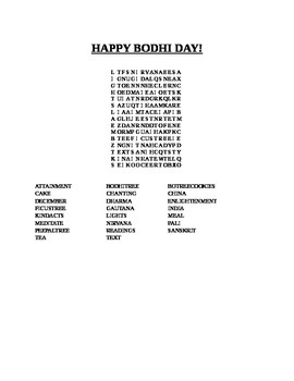 HAPPY BODHI DAY- DECEMBER 8TH- WORD SEARCH