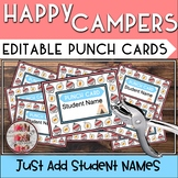 HAPPY CAMPERS Punch Cards CAMP Classroom Theme Tribal Wood
