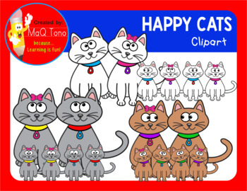MALE AND FEMALE HAPPY CATS CLIPART
