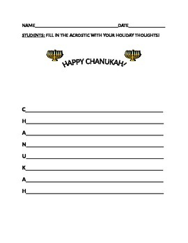 HAPPY CHANUKAH ACROSTIC ACTIVITY