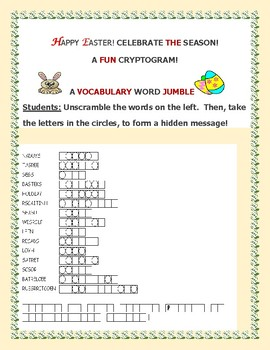 HAPPY EASTER: A VOCABULARY WORD JUMBLE: CELEBRATE!