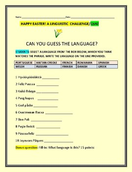 HAPPY EASTER: CAN YOU GUESS THE LANGUAGE?  A LINGUISTIC  QUIZ