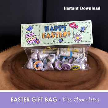 Happy easter favor bags chocolate kiss bag pdf file instant happy easter favor bags chocolate kiss bag pdf file instant download negle Images