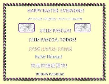HAPPY EASTER SIGN IN 8 LANGUAGES: USE FOR DOOR, HALLWAY & BULLETIN BOARDS!