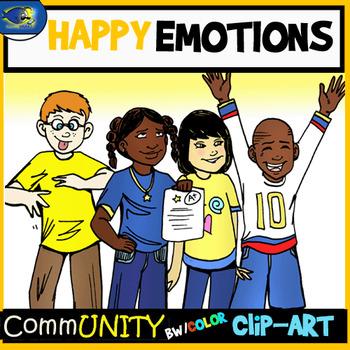 HAPPY Emotions CommUNITY Clip-Art Bundle-8 Pieces BW/Color
