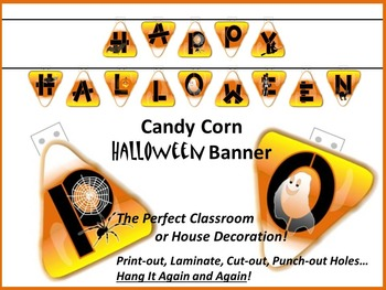 HAPPY HALLOWEEN Banner - Candy Corn Design with Various Graphics
