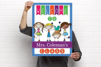 HAPPY KIDz - Classroom Decor: WELCOME Poster - 18 x 24, you personalize, A