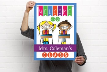HAPPY KIDz - Classroom Decor: WELCOME Poster - 18 x 24, you personalize, B