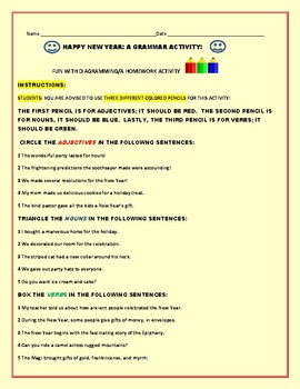 HAPPY NEW YEAR: A LEARNING TO  DIAGRAM ACTIVITY/GRAMMAR: ESL, GRS.3-6