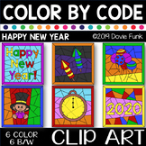 HAPPY NEW YEAR 2020 Color by Number or Code Clip Art