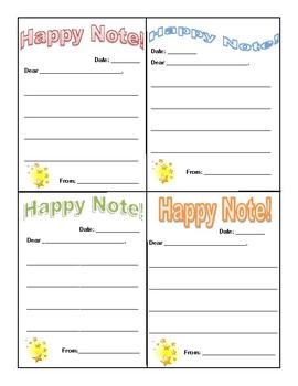 HAPPY NOTE - Positive Behavior Reinforcement, Teacher/Parent Communication