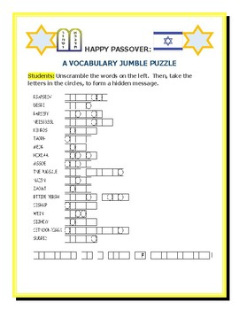 PASSOVER: A VOCABULARY WORD JUMBLE PUZZLE! A FUN CHALLENGE!