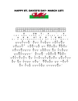HAPPY SAINT DAVID'S DAY- MARCH 1- A CRYPTOGRAM