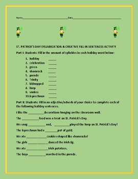 HAPPY ST. PATRICK'S DAY SYLLABICATION/ SENTENCE FILL- IN ACTIVITY
