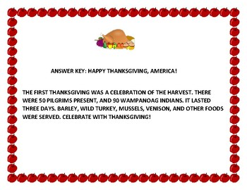 HAPPY THANKSGIVING, AMERICA! A FUN CRYPTOGRAM