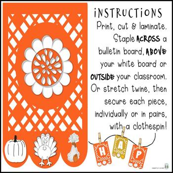 Happy Thanksgiving! Banner in Papel Picado * Cut Paper Design