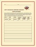 HAPPY THANKSGIVING HOMEWORK ASSIGNMENT: WRITING SENTENCES