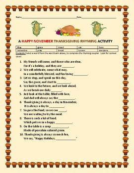 HAPPY THANKSGIVING RHYMING ACTIVITY