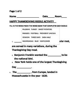 HAPPY THANKSGIVING RIDDLE ACTIVITY