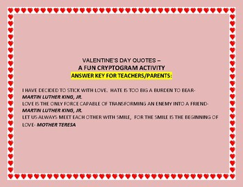 HAPPY VALENTINE'S DAY- A FUN CRYPTOGRAM-3 QUOTES!