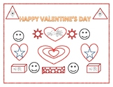 HAPPY VALENTINE'S DAY GEOMETRIC COLORING PAGE