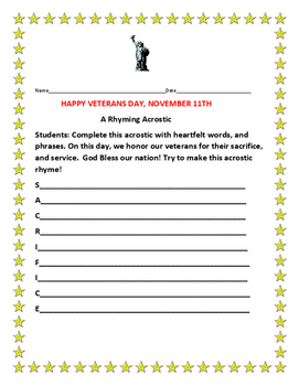 HAPPY VETERANS DAY- A RHYMING ACROSTIC ACTIVITY