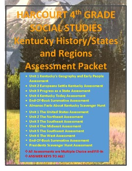 HARCOURT SOCIAL STUDIES KY HISTORY & STATES AND REGIONS ASSESSMENT CCSS PACKET