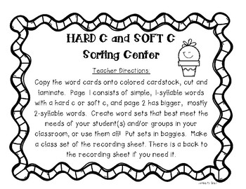 HARD C and SOFT C Sorting Center and Recording Sheet