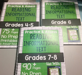 *HARD COPY* Practice & Assess READING INFORMATIONAL TEXT Differentiation Bundle