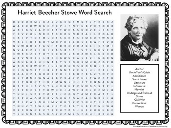 Harriet Beecher Stowe Worksheet | Harriet Beecher Stowe Word Search