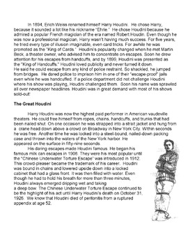 HARRY HOUDINI Magician Biography NOTE-TAKING & OUTLINING STRATEGY Reading Skils